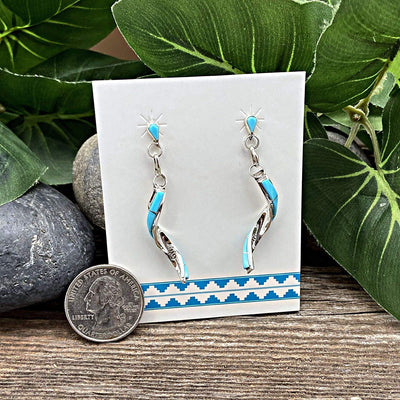 Genuine Sleeping Beauty Turquoise Earrings, 925 Sterling Silver, Native American USA Handmade, Nickle Free