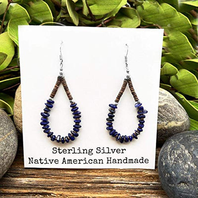 Genuine Lapis Lazuli Earrings, 925 Sterling Silver, Native American USA Handmade, Nickle Free, Navy Blue, French Hook, Heishi Style