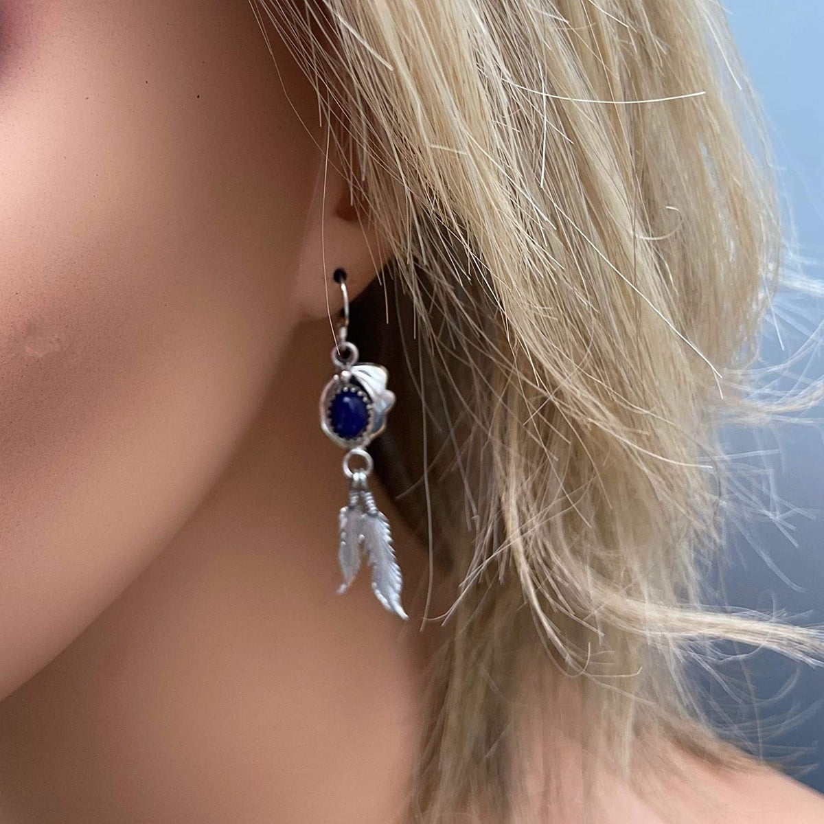 Genuine Lapis Lazuli Earrings, 925 Sterling Silver, Native American USA Handmade, Nickle Free, Navy Blue French Hook
