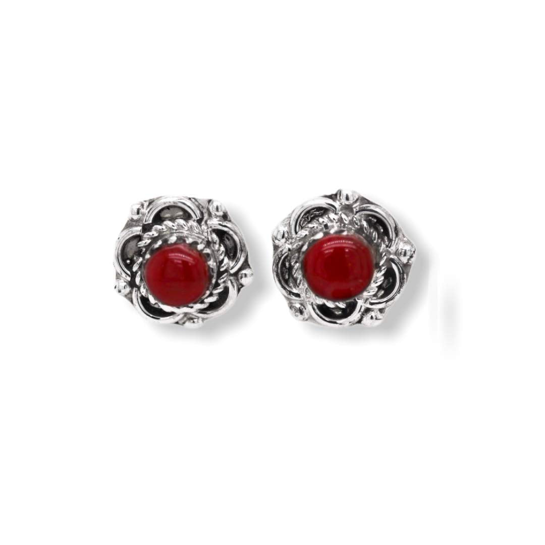 12mm Genuine Red Coral Stud Earrings, 925 Sterling Silver, Native American USA Handmade, Nickle Free, Round