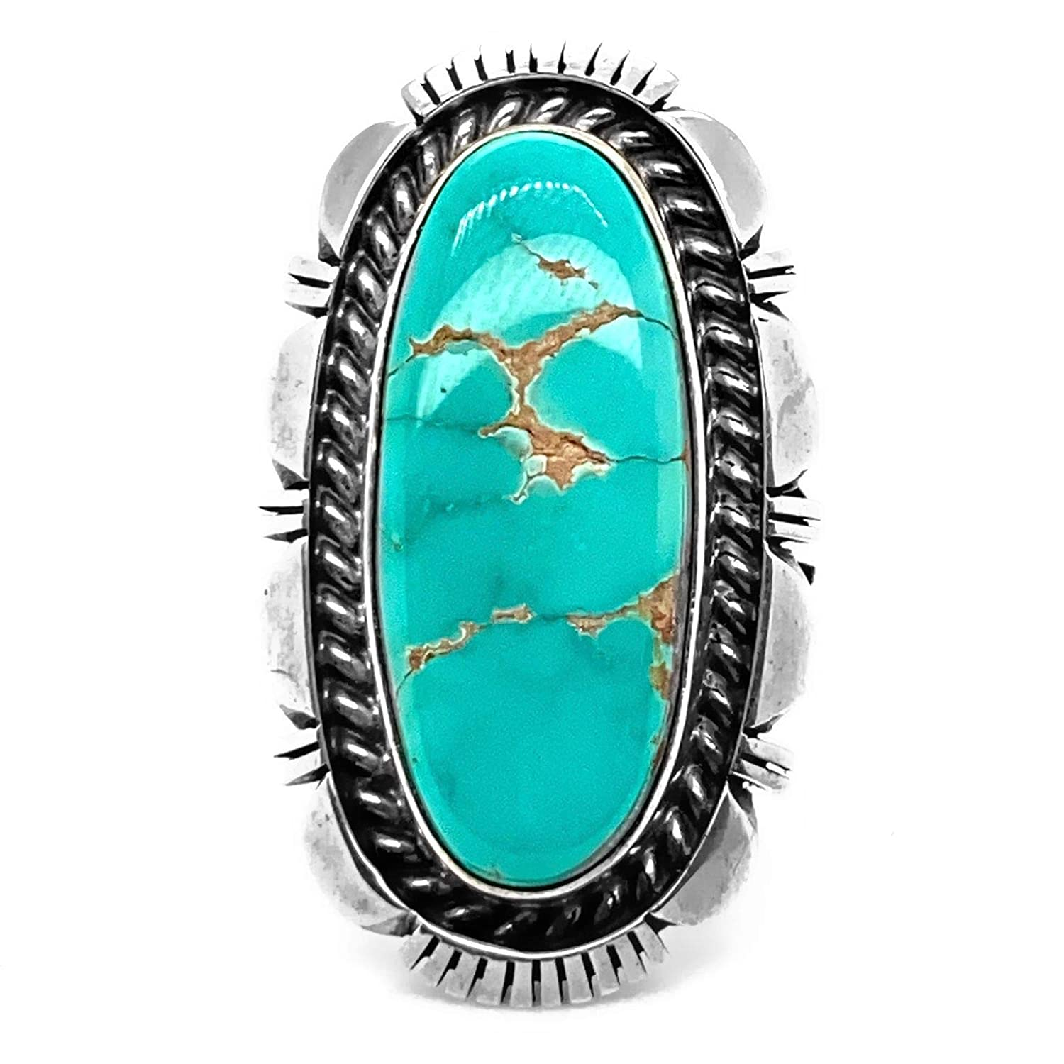 Genuine Royston Turquoise Statement Ring, Size 8.5, Sterling Silver, Authentic Navajo Native American USA Handmade, Artist Signed, Nickel Free, Southwest Jewelry