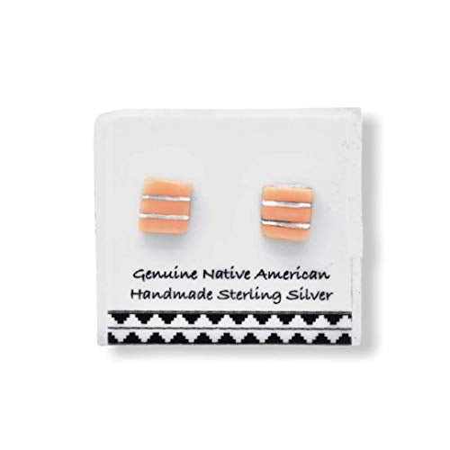 Pink Shell Stud Earrings in 925 Sterling Silver, Authentic Native American USA Handmade, Southwest Jewelry