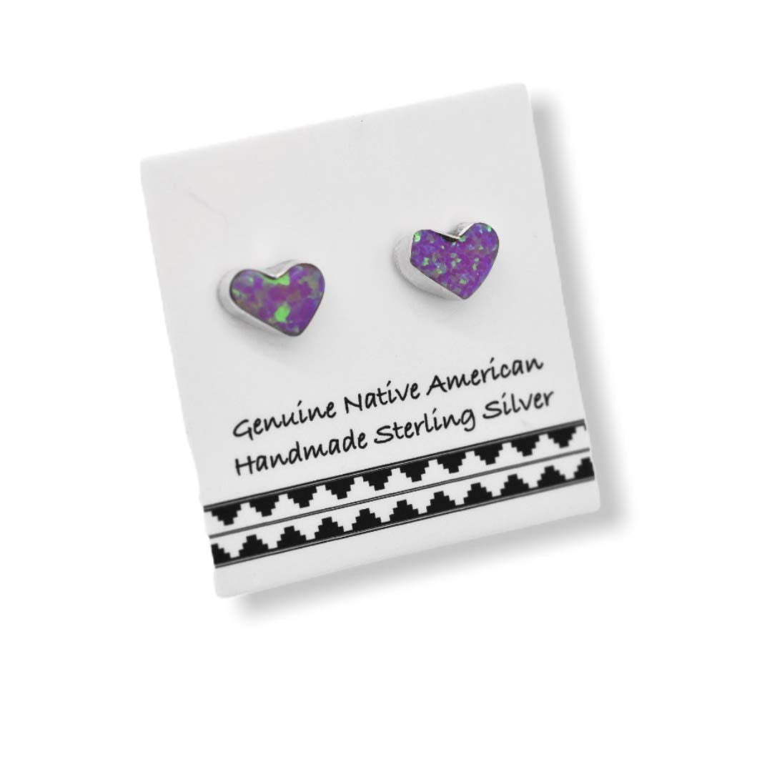 4mm Dark Pink Desert Opal Heart Stud Earrings, 925 Sterling Silver, Native American USA Handmade, Nickle Free