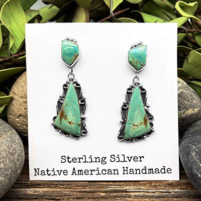 Genuine Green Turquoise Statement Earrings, Sterling Silver, Authentic Navajo Native American USA Handmade, Artist Signed, Nickle Free