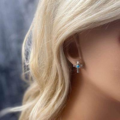 Sleeping Beauty Turquoise Cross Stud Earrings, Native American USA Handmade, Nickle Free, Religious Jewelry, Baptism Gift, Christian