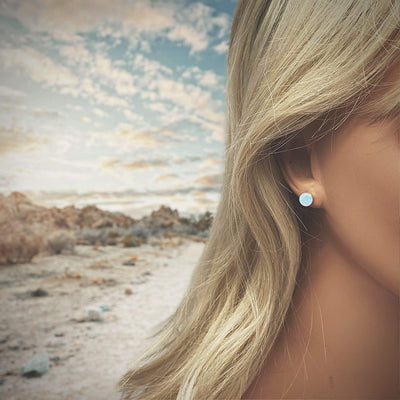 7mm Light Blue Desert Opal Stud Earrings, 925 Sterling Silver, Native American USA Handmade, Nickle Free, Synthetic Opal, Round