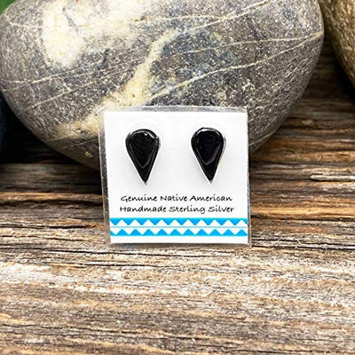 11mm Genuine Onyx Teardrop Stud Earrings in 925 Sterling Silver, Authentic Navajo Native American USA Handmade, Southwest Jewelry with Natural Black Stone