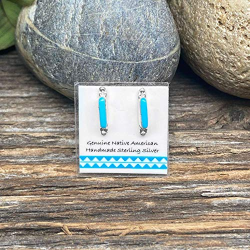 Genuine Sleeping Beauty Turquoise Bar Stud Earrings, 925 Sterling Silver, Authentic Zuni Native American USA Handmade, Natural Stone, Small and Dainty for Women, Light Blue, Southwest