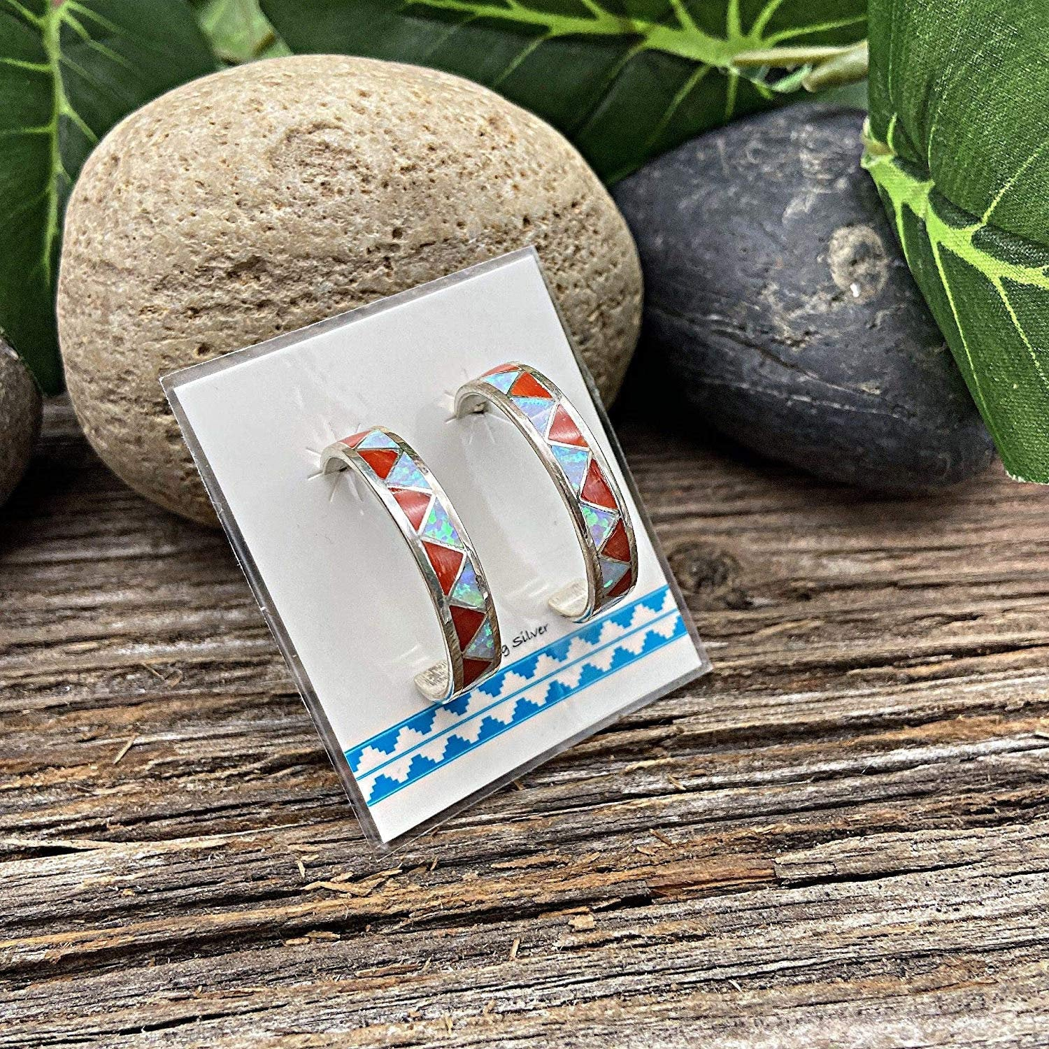 Red Coral and Moonstone Half Hoop Earrings in 925 Solid Sterling Silver, Native American Handmade in the USA, Nickle Free, Gift Boxed