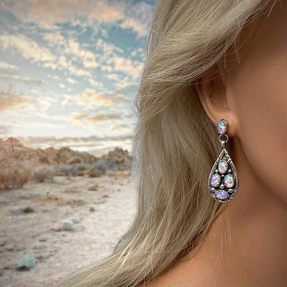 Pink Desert Opal Earrings, 925 Sterling Silver, Native American USA Handmade, Post Style, Nickle Free, Pink Synthetic Opal