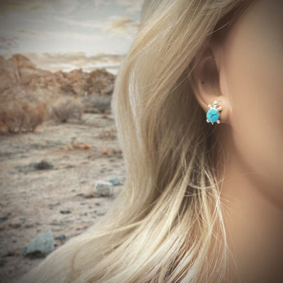 12mm Genuine Sleeping Beauty Turquoise Stud Earrings in 925 Sterling Silver, Inlay Turtle Design, Authentic Native American Handmade