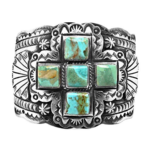 Genuine Royston Turquoise Cuff Statement Bracelet, Sterling Silver, Authentic Navajo Native American USA Handmade, Artist Signed, One of a Kind, Size Women's Large