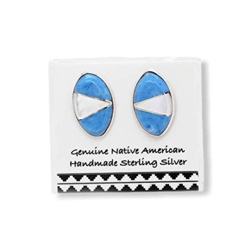 Genuine Denim Lapis Stud Earrings, 925 Sterling Silver, Authentic Native American Handmade in the USA, Nickle Free, Light Blue