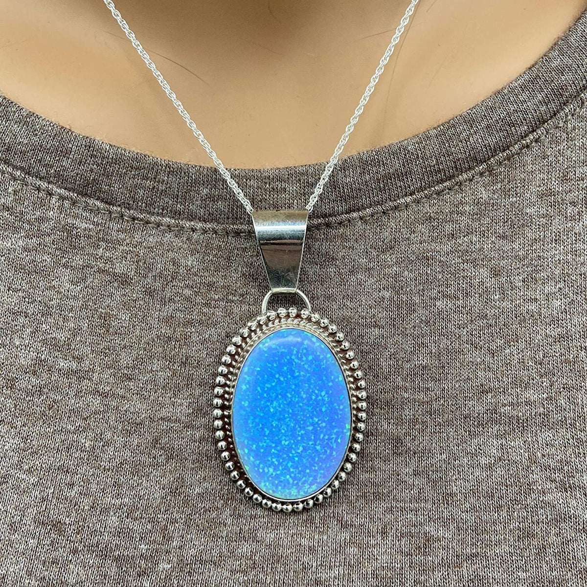 Blue Desert Opal Necklace, Pendant and Chain Set, 925 Sterling Silver, Native American USA Handmade, Nickle Free, Synthetic Blue Opal