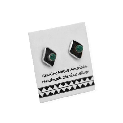 7mm Genuine Malachite Stud Earrings in 925 Sterling Silver, Native American USA Handmade, Nickle Free, Natural Stone, Diamond, Dark Green