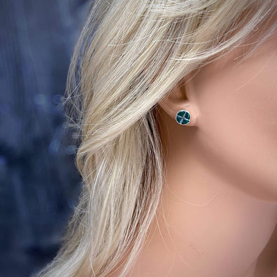 9mm Genuine Malachite Stud Earrings, 925 Sterling Silver, Authentic Native American USA Handmade, Nickle Free, Dark Green
