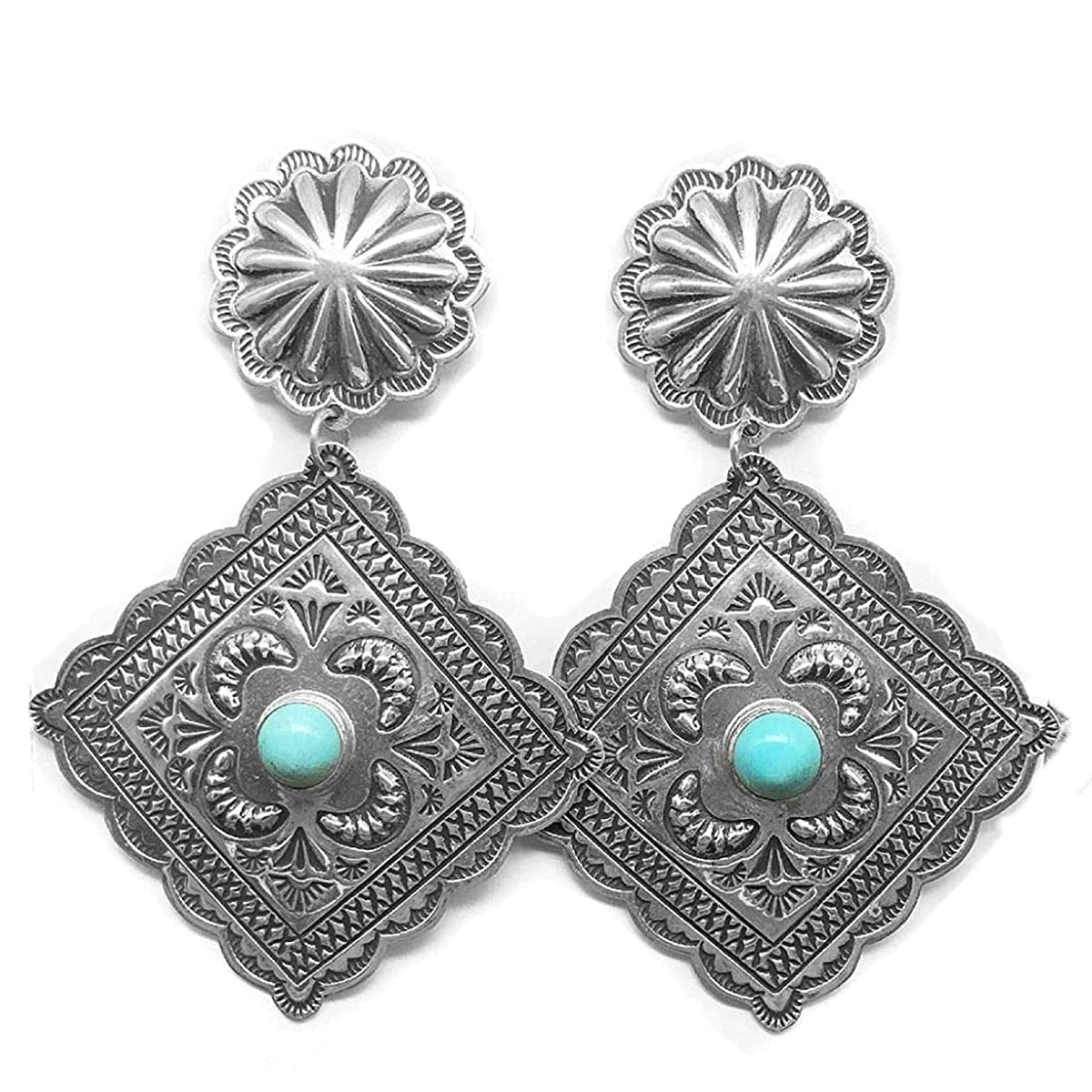 Genuine Sleeping Beauty Turquoise Statement Earrings, Sterling Silver, Authentic Navajo Native American USA Handmade, Artist Signed, Nickle Free, Southwest Vintage Style