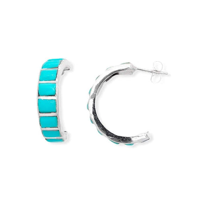 Genuine Sleeping Beauty Turquoise Half Hoop Earrings in 925 Sterling Silver, Native American Handmade in the USA, Nickle Free