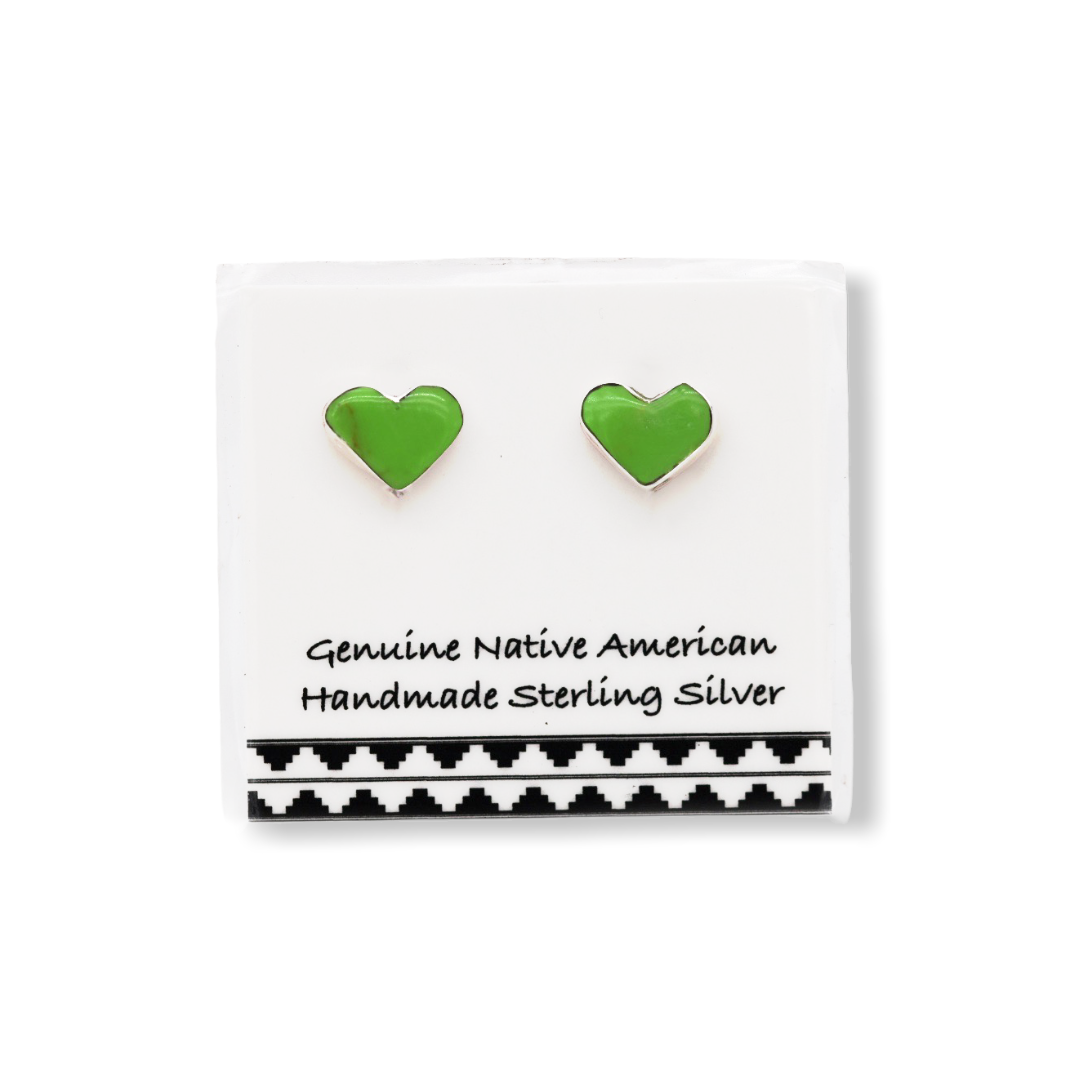 5mm Bright Green Gaspeite Heart Stud Earrings,925 Sterling Silver, Native American USA Handmade, Nickle Free