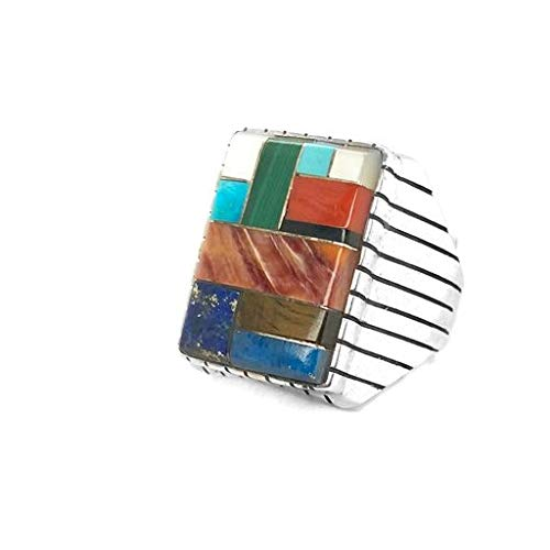 Genuine Multi-Stone Ring, Size 10, Sterling Silver, Authentic Navajo Native American USA Handmade, Artist Signed, Nickel Free, Multicolor, Southwest Jewelry for Men