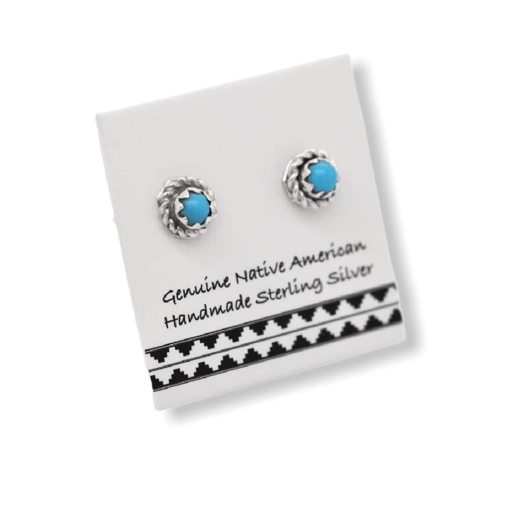 5mm Genuine Sleeping Beauty Turquoise Stud Earrings in 925 Sterling Silver, Authentic Native American Handmade, Nickle Free