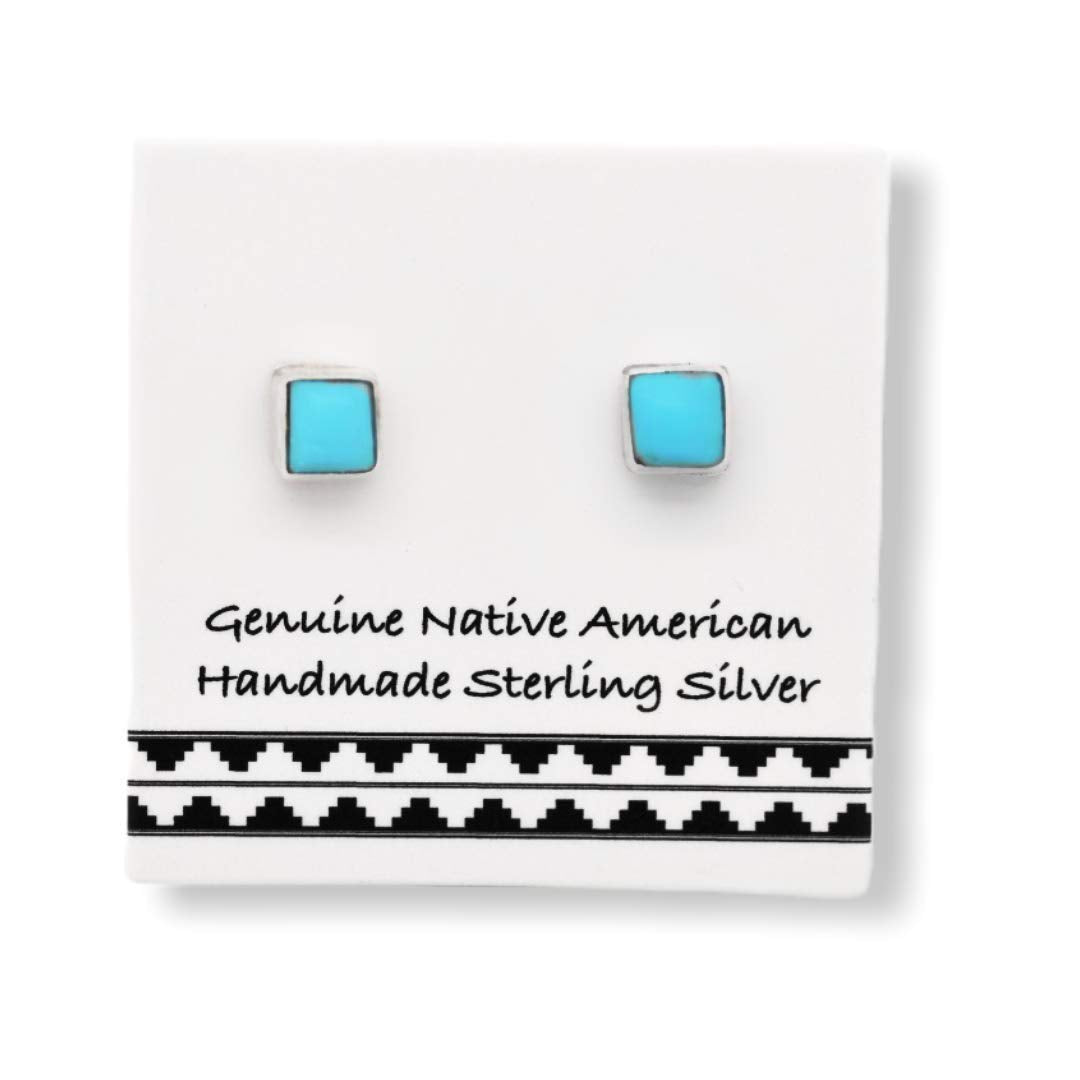 3mm Genuine Sleeping Beauty Turquoise Stud Earrings in 925 Sterling Silver, Square Style, Authentic Native American Handmade, Nickle Free
