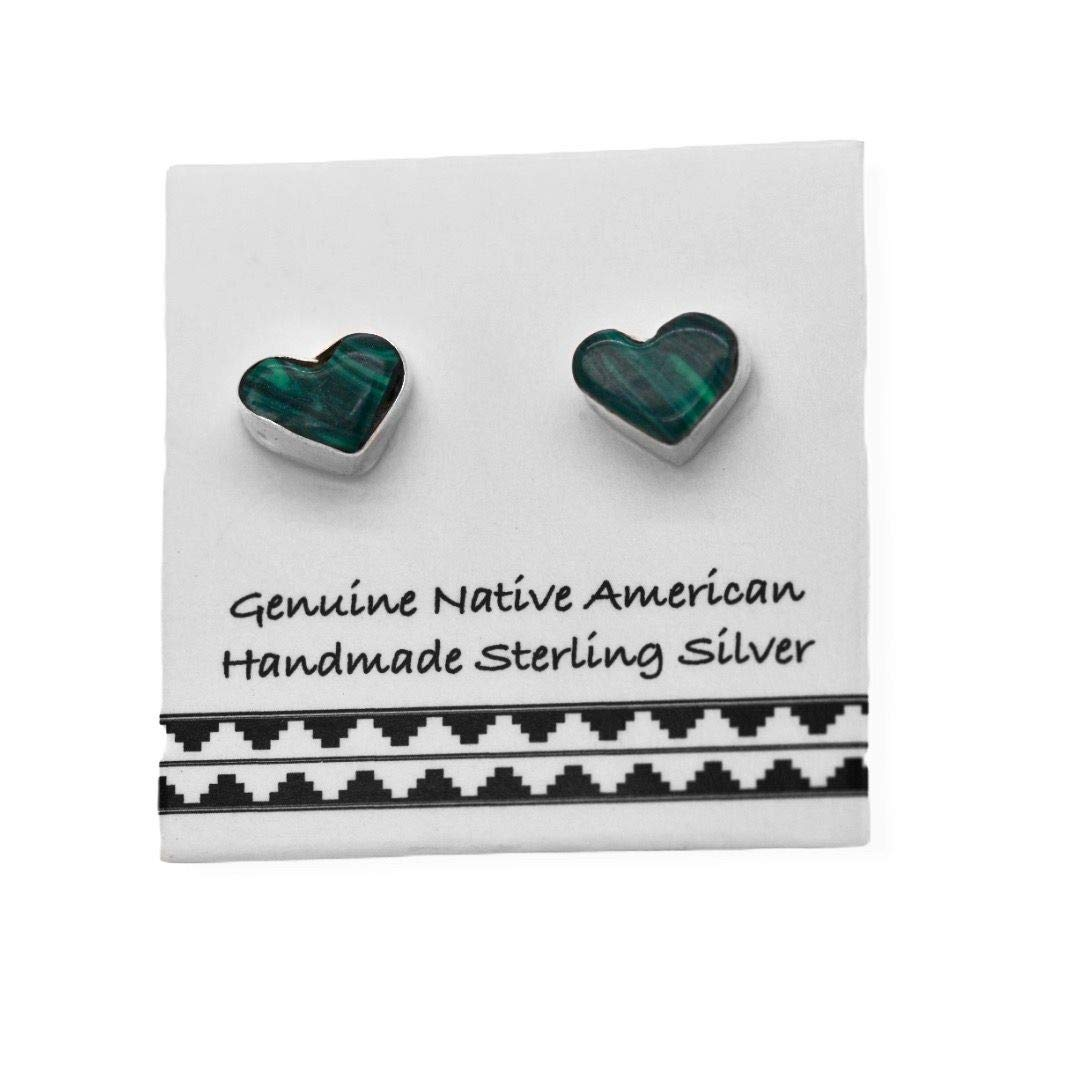 5mm Genuine Malachite Heart Stud Earrings in 925 Sterling Silver,Native American Handmade in the USA, Nickle Free, Dark Green