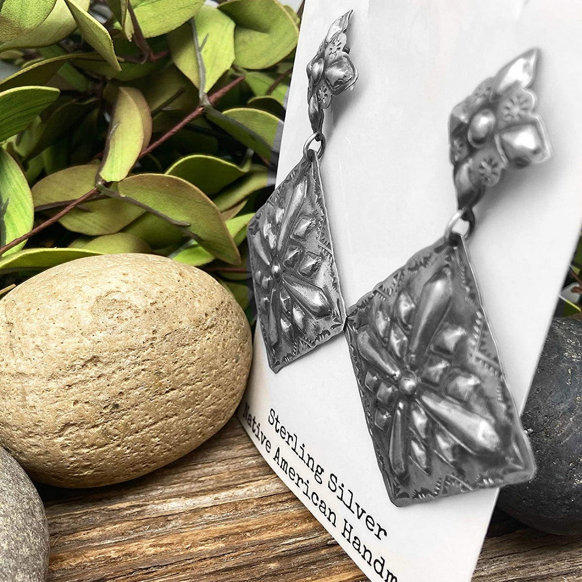 Genuine Oxidized Sterling Silver Statement Earrings, Authentic Navajo Native American USA Handmade, Nickle Free, Southwest Vintage Style