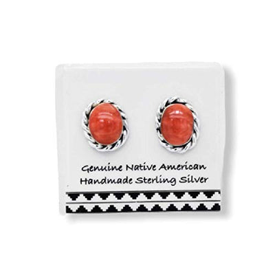 Red Spiny Oyster Shell Earrings in 925 Sterling Silver, Native American USA Handmade, Nickel Free, Natural Shell, Oval