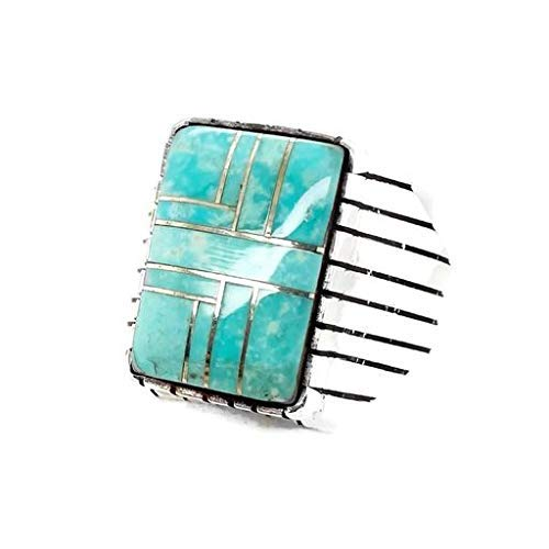 Genuine Sleeping Beauty Turquoise Ring, Size 12.5, Sterling Silver, Authentic Navajo Native American USA Handmade, Artist Signed, Nickel Free, Southwest Jewelry for Men