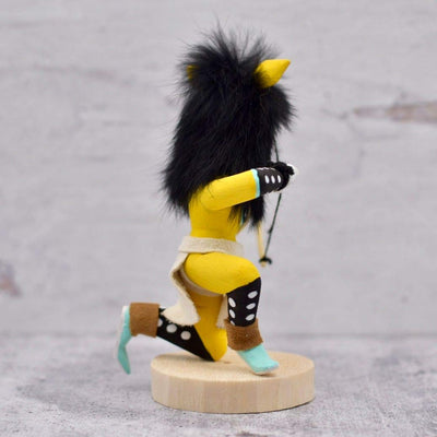 6 Inch Authentic Crouching Yellow Wolf Kachina Doll, Genuine Navajo Native American Tribe Handmade in the USA, Artist Signed, Natural Materials, Southwestern Collectible Figurine