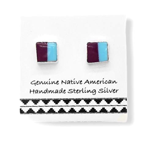 5mm Genuine Sleeping Beauty Turquoise and Purple Spiny Oyster Shell Stud Earrings, 925 Sterling Silver, Native American USA Handmade, Nickle Free