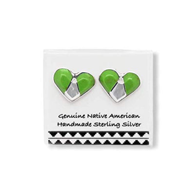 Bright Green Gaspeite Heart Stud Earrings, 925 Sterling Silver, Native American USA Handmade, Nickel Free, Natural Stone