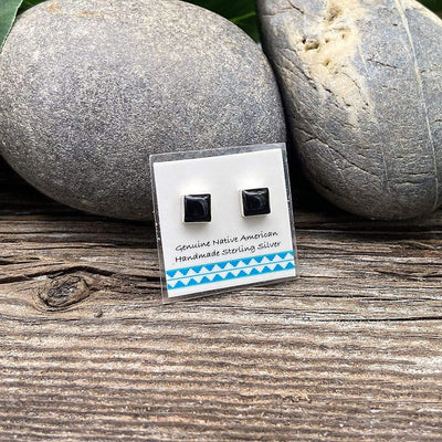 5mm Genuine Black Onyx Stud Earrings in 925 Sterling Silver, Native American USA Handmade, Nickle Free, Square