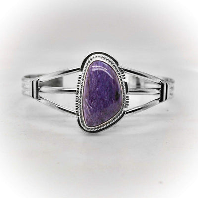 Genuine Purple Charoite Cuff Bracelet, Sterling Silver, Authentic Navajo Native American USA Handmade, Artist Signed, One of a Kind, Size Women's Medium