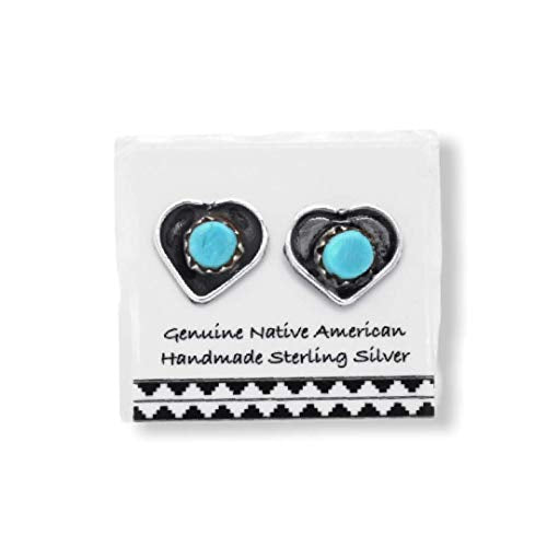 Genuine Sleeping Beauty Turquoise Heart Stud Earrings, 925 Sterling Silver, Authentic Native American USA Handmade, Light Blue, Southwest Jewelry