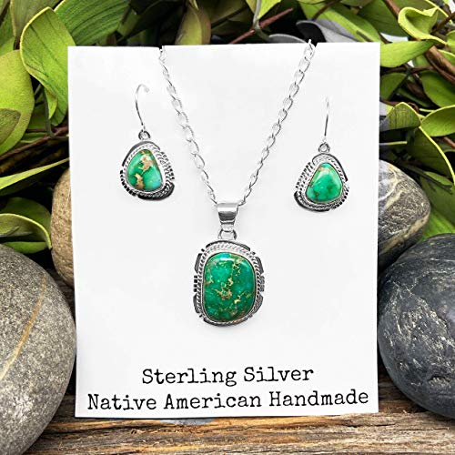 Genuine Sonoran Gold Turquoise Jewelry Set, Navajo Native American USA Handmade, 925 Sterling Silver, Artist Signed, Pendant, Earring Set with Chain, Nickle Free