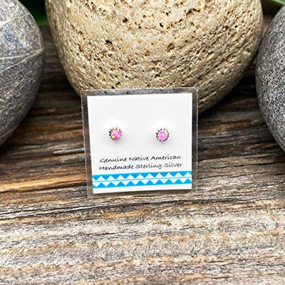 3mm Pink Desert Opal Stud Earrings, 925 Sterling Silver, Native American USA Handmade, Synthetic Opal, Nickle Free