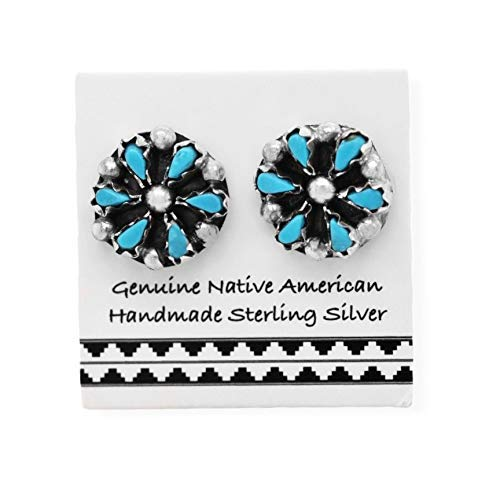 10mm Sleeping Beauty Turquoise Cluster Stud Earrings in 925 Sterling Silver, Native American Handmade in the USA, Concho Style, Nickle Free