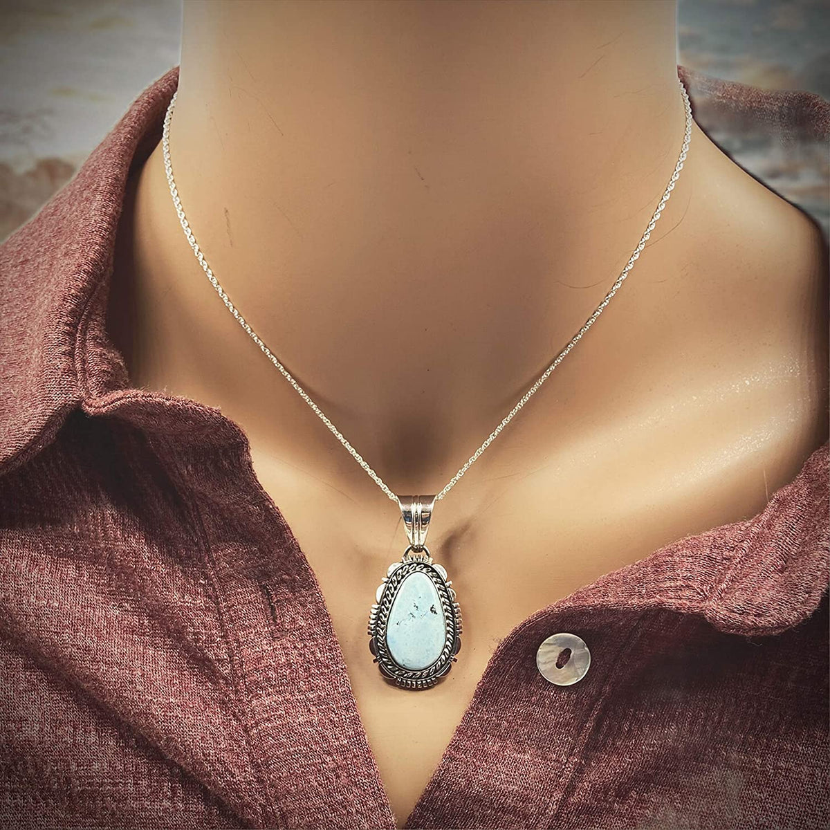 Genuine Golden Hill Turquoise Pendant, Sterling Silver, Authentic Navajo Native American USA Handmade, Artist Signed, Nickel Free, Southwest Jewelry