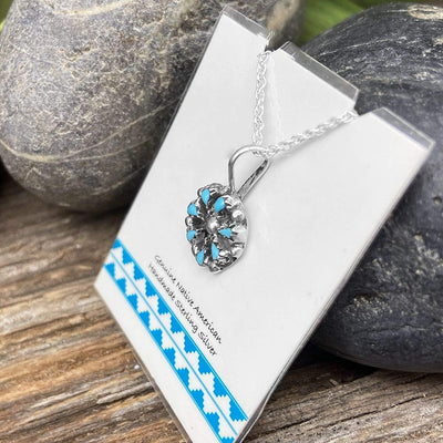 Genuine Sleeping Beauty Turquoise Cluster Necklace, Pendant and Chain Set, 925 Sterling Silver, Native American USA Handmade, Zuni Petit Point