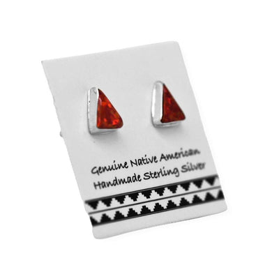 6mm Red Desert Opal Stud Earrings, 925 Sterling Silver, Native American USA Handmade, Nickle Free, Red Synthetic Opal, Triangle