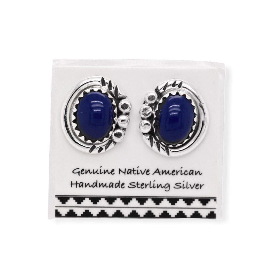 Genuine Lapis Lazuli Stud Earrings in 925 Sterling Silver, Native American USA Handmade, Nickle Free, Navy Blue, Oval