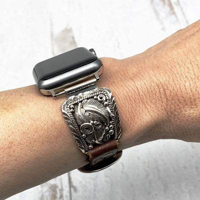 Sterling Silver and Leather Apple Watch Replacement Band, Authentic Navajo Native American, USA Handmade, 38mm, 40mm, 42mm