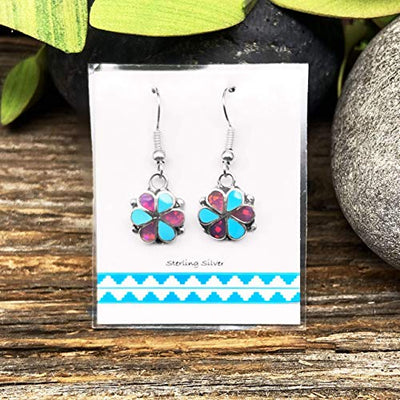 Genuine Sleeping Beauty Turquoise and Pink Desert Opal Earrings, 925 Sterling Silver, Native American USA Handmade, French Hook Style, Nickle Free