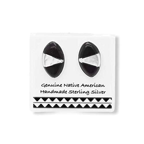 Genuine Black Onyx and Moonstone Stud Earrings, 925 Sterling Silver, Authentic Zuni Native American USA Handmade, Southwest Jewelry with Natural Black Stone