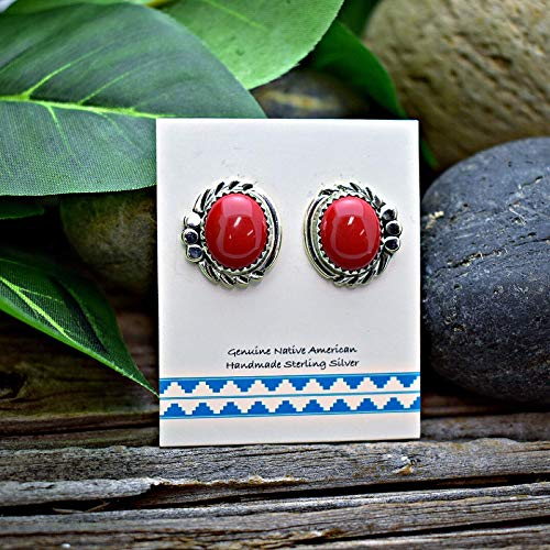 Red Coral Stud Earrings in 925 Solid Sterling Silver, Authentic Navajo Native American Handmade in the USA, Nickle Free, Gift Boxed