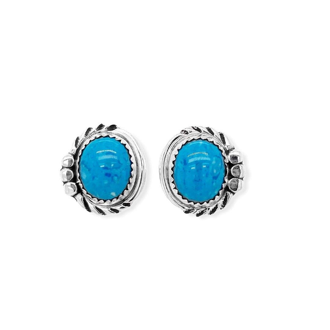 Genuine Denim Lapis Stud Earrings in 925 Sterling Silver, Authentic Native American, Handmade in the USA, Nickle Free