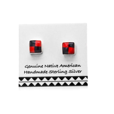 5mm Genuine Red Coral and Onyx Stud Earrings, 925 Sterling Silver, Authentic Native American Handmade in the USA, Nickle Free