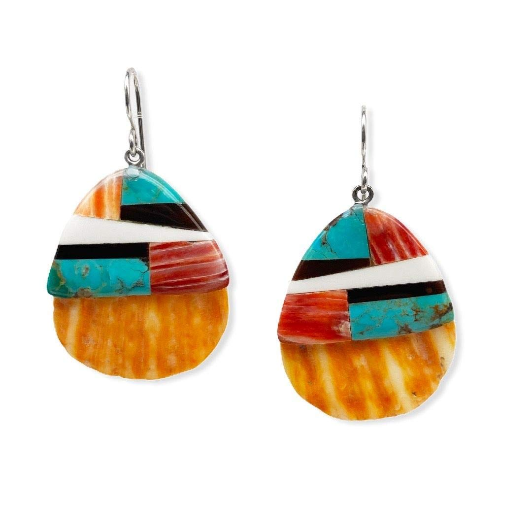 Spiny Oyster Shell and Turquoise Earrings, Santo Domingo Native American Handmade, Sterling Silver, Genuine Shell and Stone